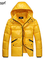 Lesmart Hombre Escote Chino Manga Larga Abajo y abrigos esquimales Azul / Negro / Amarillo - MDME10412