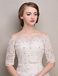 Wedding  Wraps Shrugs Half-Sleeve Lace Ivory Wedding / Party/Evening Bateau Appliques / Rhinestone Lace-up