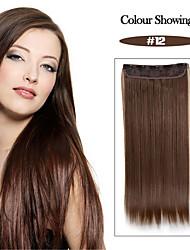 alta temperatura de resistencia de 24 pulgadas de color marrón miel (# 12) larga recta 5 extensión peluca clip de 16 colores disponibles
