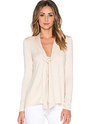 Strik - Polyester - Met ruches - Vrouwen - T-shirt - Lange mouw