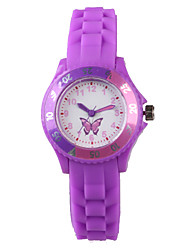 Women's Fashion Watch Casual Watch Quartz Water Resistant / Water Proof Silicone Band Cartoon Butterfly Purple Brand