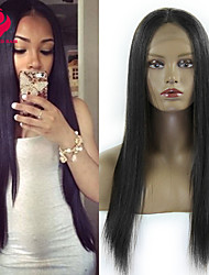 2015 Fashion 10-28inch 100% Peruvian Virgin Hair Long Silk Straight Natural Color Full Lace Wig