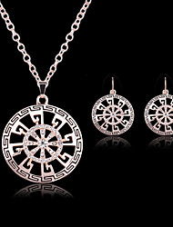 Lucky Doll Women's All Matching Vintage Rose Gold Plated Zirconia Geometric Necklace & Earrings Jewelry Sets