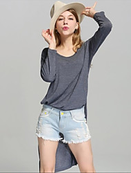 Women's Solid White / Gray Blouse , Round Neck Long Sleeve