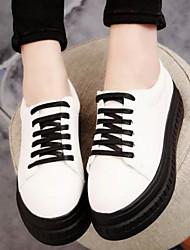 Scarpe Donna - Sneakers alla moda - Tempo libero / Casual - Creepers / Comoda / Punta arrotondata - Plateau - Finta pelle -Nero / Bianco