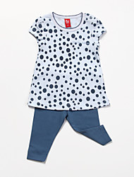 Girl's Blue Clothing Set Cotton All Seasons