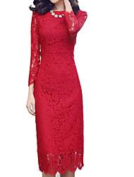 Women's Bodycon / Lace Solid Bodycon Dress Midi Lace