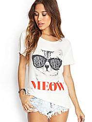 Damen T-Shirt  -  Blume Polyester Kurzarm Rundhalsausschnitt