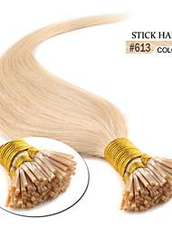 """100 x 0.5g 18 """"pre enlazado extremidad del palillo real natural 100% inclino iTIP extensiones de cabello humano 613 # rubias"""