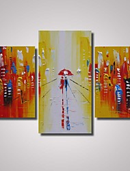 3 Panels 100% Hand Painted A Couple with Umbrella Walking in Raining Street at Night with Thick Texture  Ready to Hang