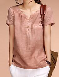 Women's Solid Orange Blouse , V Neck Short Sleeve