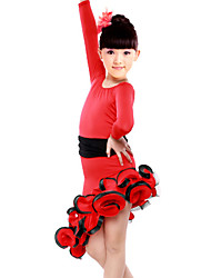 Latin Dance Dresses Children's Performance Spandex / Polyester Draped 1 Piece Black / Red Latin Dance / Samba Dress