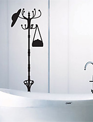 Fashion Hat Coat Stand PVC Wall Stickers