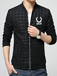 Men's Long Sleeve Jacket , Polyester Casual / Work / Formal / Sport Pure