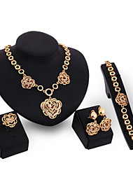 Women Gold Wedding Gifts Party Alloy Roses Rhinestone Necklace Four - piece Set