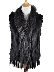 Women's Authentic Knitted Rabbit Fur Vest With Raccoon Fur Collar Trim