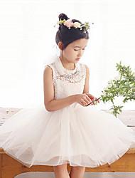 Vestido Chica deUn Color-Poliéster-Verano-Blanco / Gris