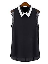 Women's Patchwork White / Black Shirt , Shirt Collar Sleeveless