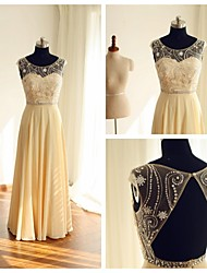 Formal Evening Dress A-line Scoop Floor-length Chiffon with Beading / Buttons