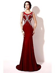 Formal Evening Dress Trumpet / Mermaid Scoop Sweep / Brush Train Satin with Beading / Crystal Detailing