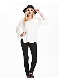 Women's Solid White Blouse , V Neck ¾ Sleeve