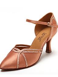 Non Customizable Women's Dance Shoes Satin / Leather Satin / Leather Modern Heels Cuban HeelPractice / Beginner / Professional / Indoor /