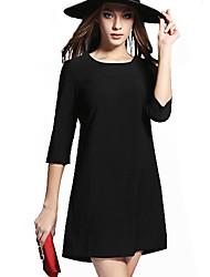 Women's Solid Blue / Black Dress (cotton)