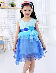 Girl's Blue / Red Dress,Floral Polyester Summer