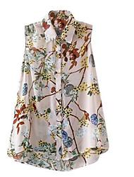 Women's Print Blue / Beige Blouse , Shirt Collar Sleeveless