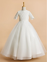 A-line Tea-length Flower Girl Dress - Tulle Short Sleeve