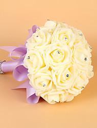 Hochzeitsblumen Rundförmig Rosen Sträuße Hochzeit Elastischer Satin Schaumstoff ca.21cm