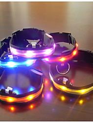 Chien Colliers Lampe LED / Ajustable/Réglable Vert / Bleu / Violet / Orange Tissu / Plastique