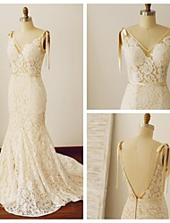 Trumpet/Mermaid Wedding Dress - Champagne Chapel Train V-neck Lace