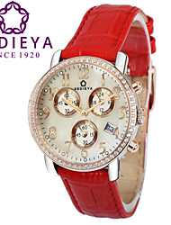 KEDIEYA Genuine Leather Red Watch Ladies Gift 60 Zircon Diamond Mosaic Date Sapphire Chronograph Womens Watches