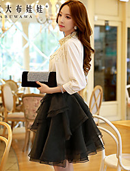Women's Solid Black Skirts , Work / Casual / Day Above Knee