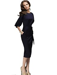 Women's Vintage Sexy Party Casual OL Style Bodycon Slim Chiffon Dress