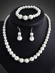 Lucky Doll Women's All Matching Silver Plated Man Made Pearl Necklace & Earrings & Bracelet Jewelry Sets