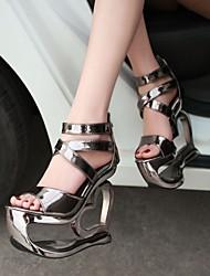 Women's Shoes Heel Wedges / Heels / Peep Toe / Platform Sandals / Heels Wedding / Dress / Casual Black / Silver