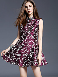 Going out A Line Dress,Jacquard Crew Neck Mini Sleeveless Blue / Red Cotton / Polyester Spring Mid Rise Micro-elastic