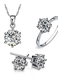 Crystal Jewelry Set Classic Elegant Unique Design Sample Pendant Necklace Earrings Girlfriend Gift