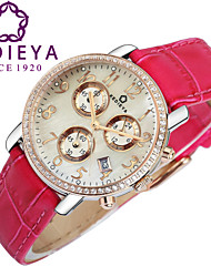 KEDIEYA Genuine Leather Rose Pink Watch Ladies Gift 60 Zircon Diamond Mosaic Date Sapphire Chronograph Womens Watches