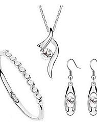 Jewelry Set Classic Elegant Crystal Unique Design Pendant Necklace Earrings Bracelet Girlfriend Gift