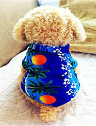 Hunde T-shirt Blau Hundekleidung Sommer Blumen / Pflanzen Modisch Urlaub