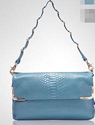 Women Cowhide Baguette Shoulder Bag - Blue / Yellow