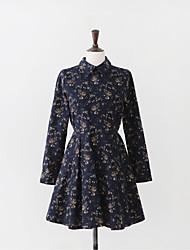trabalho de estilo coreano das mulheres / casual / dia camisa vestido floral, colarinho da camisa de algodão acima do joelho