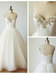 Ball Gown Wedding Dress - Ivory Court Train Sweetheart Satin / Tulle