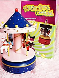 A Birthday Present Merry-Go-Round Music Box Of Sky City Wooden Music Box(Random Color)