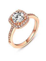 T&C Women's Rose Gold Plated Princess Cut Zircon Wedding Ring Surrounded by Austrian Crystals