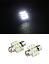 White 31mm Dome 12 LED 3528 SMD Car Interior Bulb Light Lamp (2 Pcs)