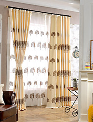(One Panel)Linen Cotton Brown Lucky Tree Embroidery Blackout Lined Curtain